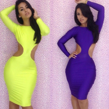 Promotional !2015 Fashion Autumn Party Yellow,Blue Bodycon Sexy Club women's Wrap Backless Bandage Casual Dresses 5055G