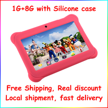 """Alldaymall 7"""" Kids Tablet Children Quad Core Android Dual Camera 8GB HD Kids Edit iWawa Installed Pink Kid-Proof Silicone Case(China (Mainland))"""