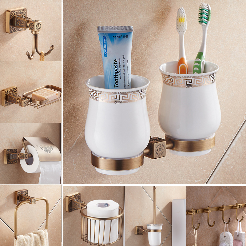 Newly Antique Bath Hardware Sets Wall Mounted Bathroom Accessory Toothbrush/Toilet Paper Holder Soap Dish Towel Hooks(China (Mainland))