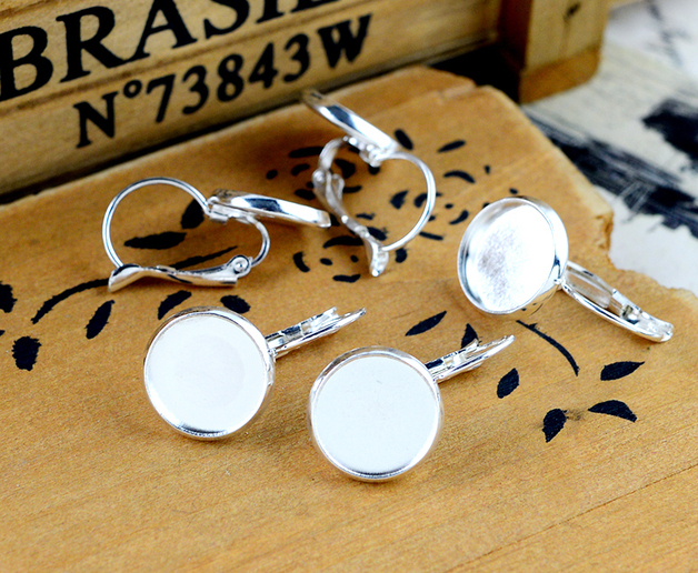 12mm 10pcs Light Silver plated French Lever Back Earrings Blank/Base,fit 12mm glass cabochons,buttons;earring bezels E-1204