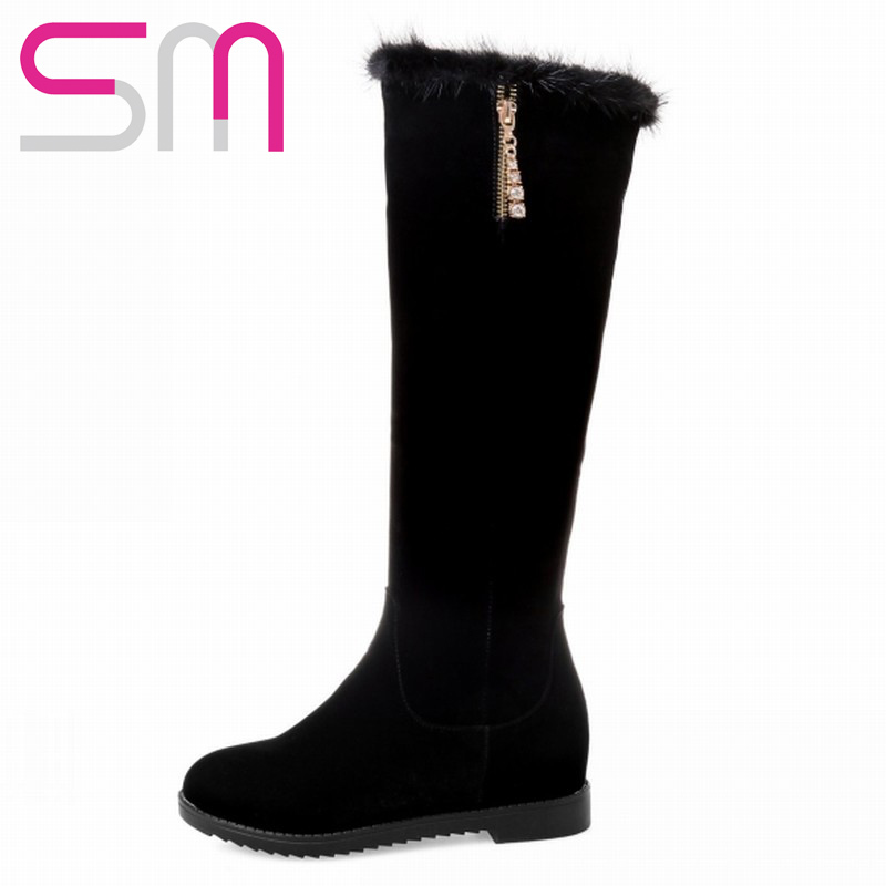2015 Classics Crystal Design Solid Round Toe Platform Wedges Casual Shoes Women New Arrival Women Shoes Knee High Boots