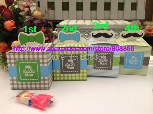 100Pcs/lot 2015 Amazing Baby gift box of My Little Man Favor Boxes for baby shower favor and Party decoration and baby souvenirs(China (Mainland))