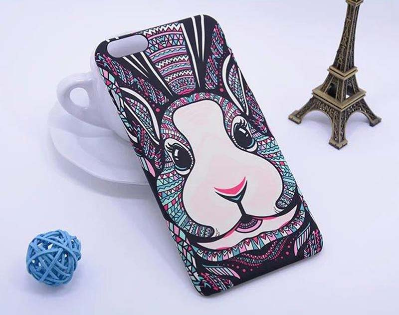 For iPhone 4 4G 4S colorful second generation the king of forest animal rabbit printing smooth noctilucous back cover case(China (Mainland))