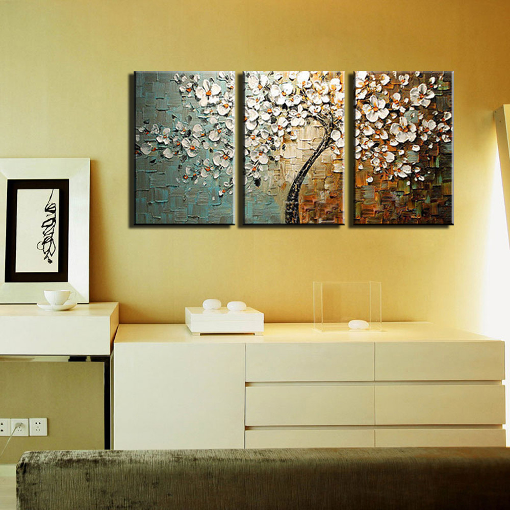 3 Panel Wall Art Canvas Tree Acrylic Decorative Pictures Hand ...