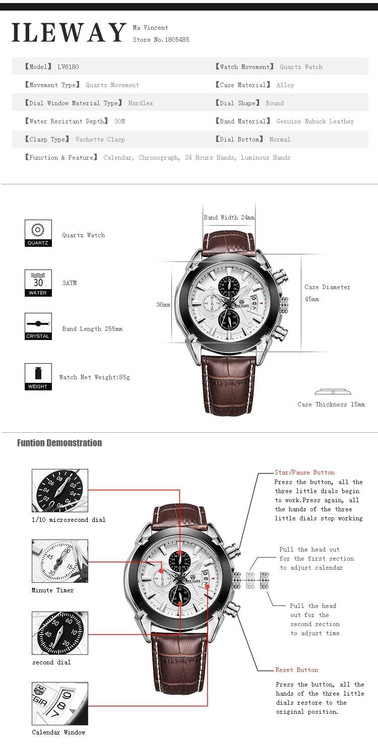 megir fashion leather sports quartz watch for man military
