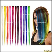 """10x Fashion Beauty New 24"""" Straight Colored Colorful Clip On In Hair Extension/Hair piece Free Shipping(China (Mainland))"""
