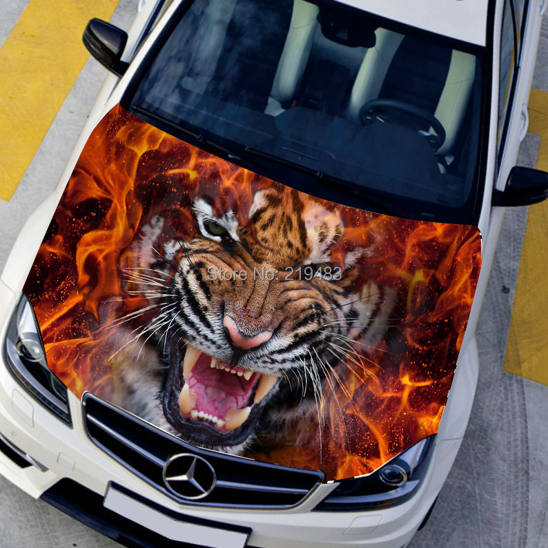 Car styling HD inkjet Ferocious Burning Tigers Hood stickers car Waterproof Protective film Animal decals 135*150cm(China (Mainland))
