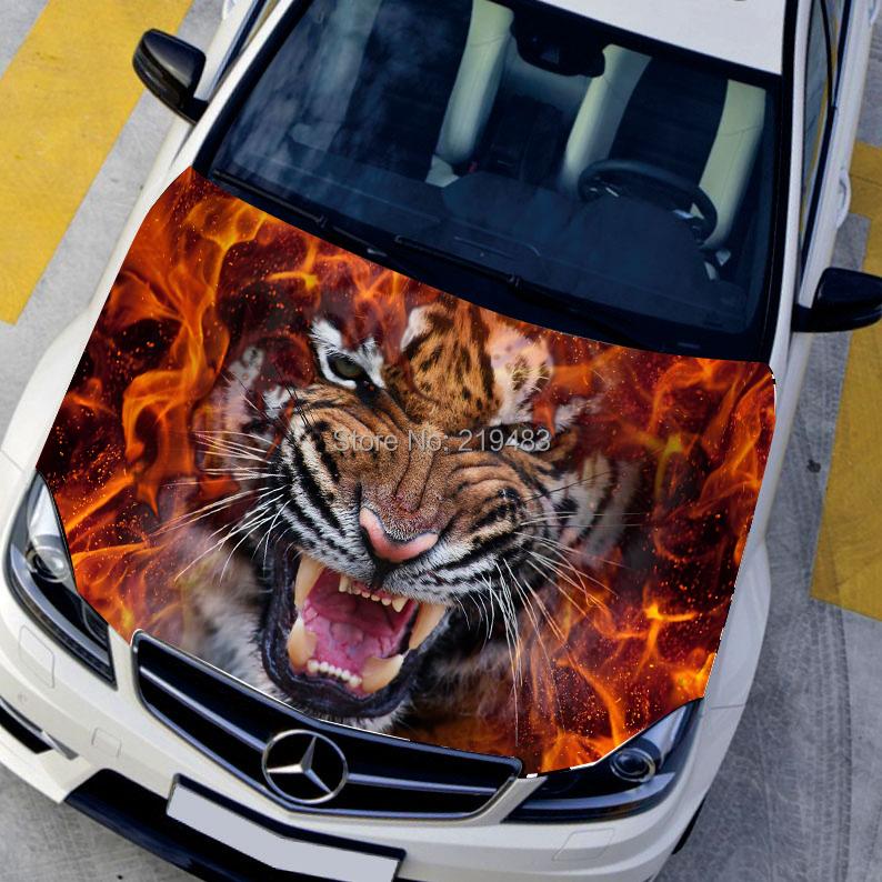 Автомобильного стайлинга HD для струйных свирепых тигров горящий капот авто наклейки Водонепроницаемый наклейки защитной пленки для животных 135*150см