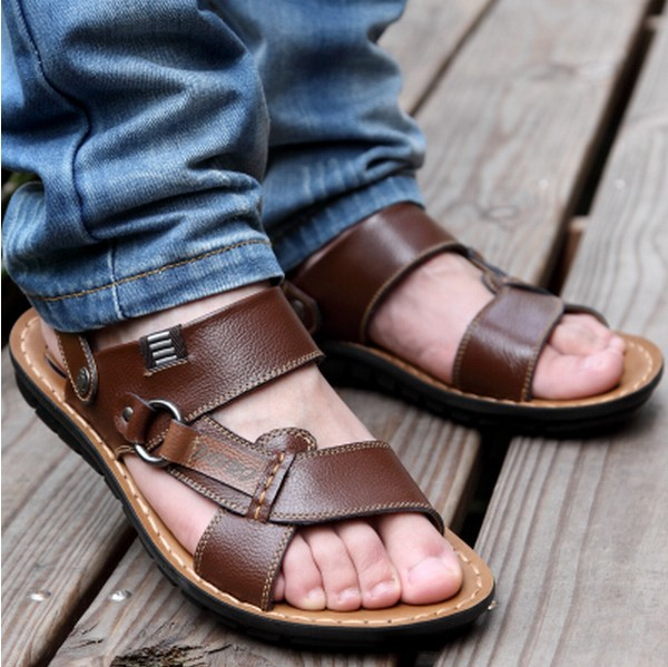 2014 free shipping Camel mens sandals slippers genuine leather cowhide sandals outdoor casual men leather sandals for men,S569(China (Mainland))
