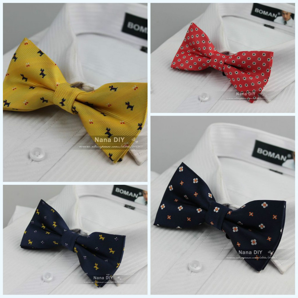New 2015 Man Fashion Accessories Flora Animal Plaid Jacquard Woven Classic Pre-tied Bow Tie Casual bowtie for Men ,Free shipping(China (Mainland))