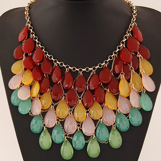 Collares mujer Statement Necklaces & Pendants Women 2015 Fashion Resin Water Drop Choker Necklace Colar Jewlery Collier - Jennifer Shew's Jewelry store(No Min Order Mix items store)