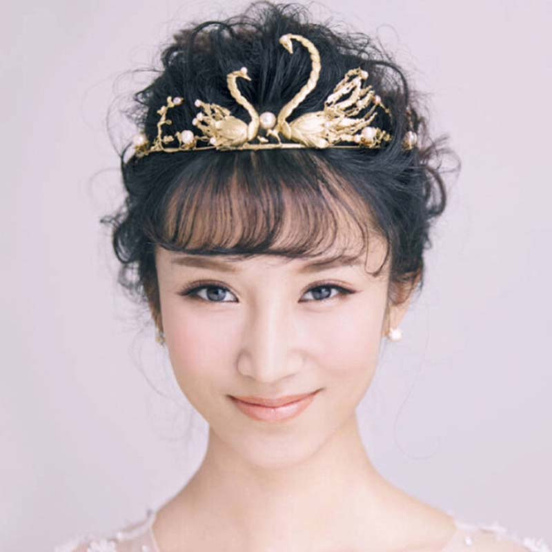 Wedding hair accessories bridal headwear white gold plated swan double 2016 new free ship hot tiara gold fashion hair jewelry(China (Mainland))