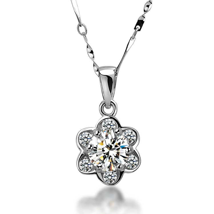 Free Shipping, Small chrysanthemum style 925 sterling silver-pla white gold  Pendant with AAA grade zircon Swiss diamond<br><br>Aliexpress