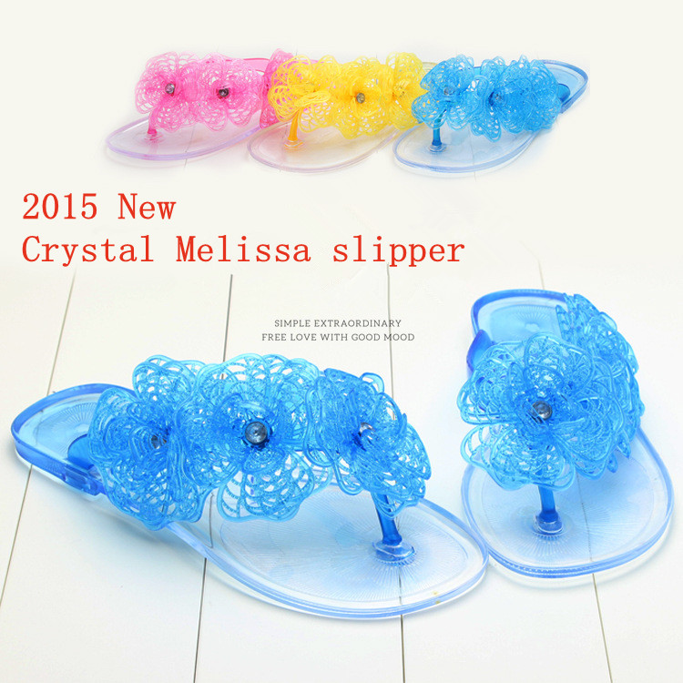 New sandals melissa jelly shoes Summer mesh Camellia toe women's slippers flip flops Beach jelly Crystal flat female sandals(China (Mainland))
