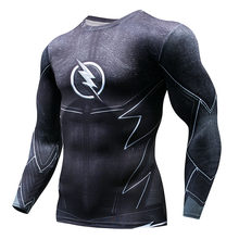 Pria Marvel Superhero Celana Ketat Lengan Panjang Kemeja Batman Superman Captain America Flash 3D Kebugaran Mma UFC K Berlaku T kemeja(China)