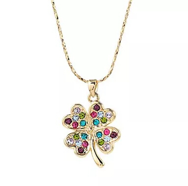 2015 Elegant Charming Italina Rigant Four Leaves Clover Gold /Silver Plated Pendant necklace for women(China (Mainland))