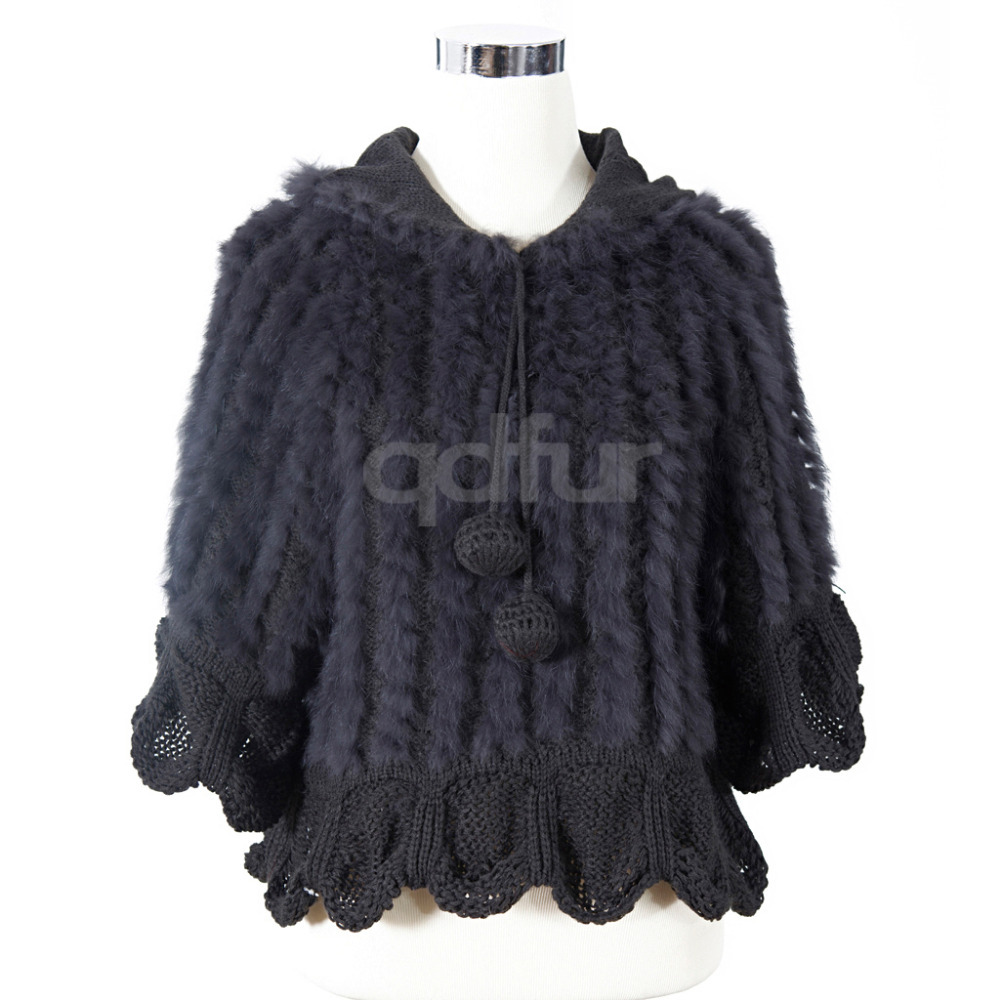 QD10938 Lady Fashion Genuine Rabbit Fur Poncho with sleeve charm lovely sweater In stockОдежда и ак�е��уары<br><br><br>Aliexpress