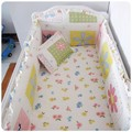 Promotion 6PCS baby bed linen baby cot bedding sets 100 cotton with filling bumpers sheet pillow