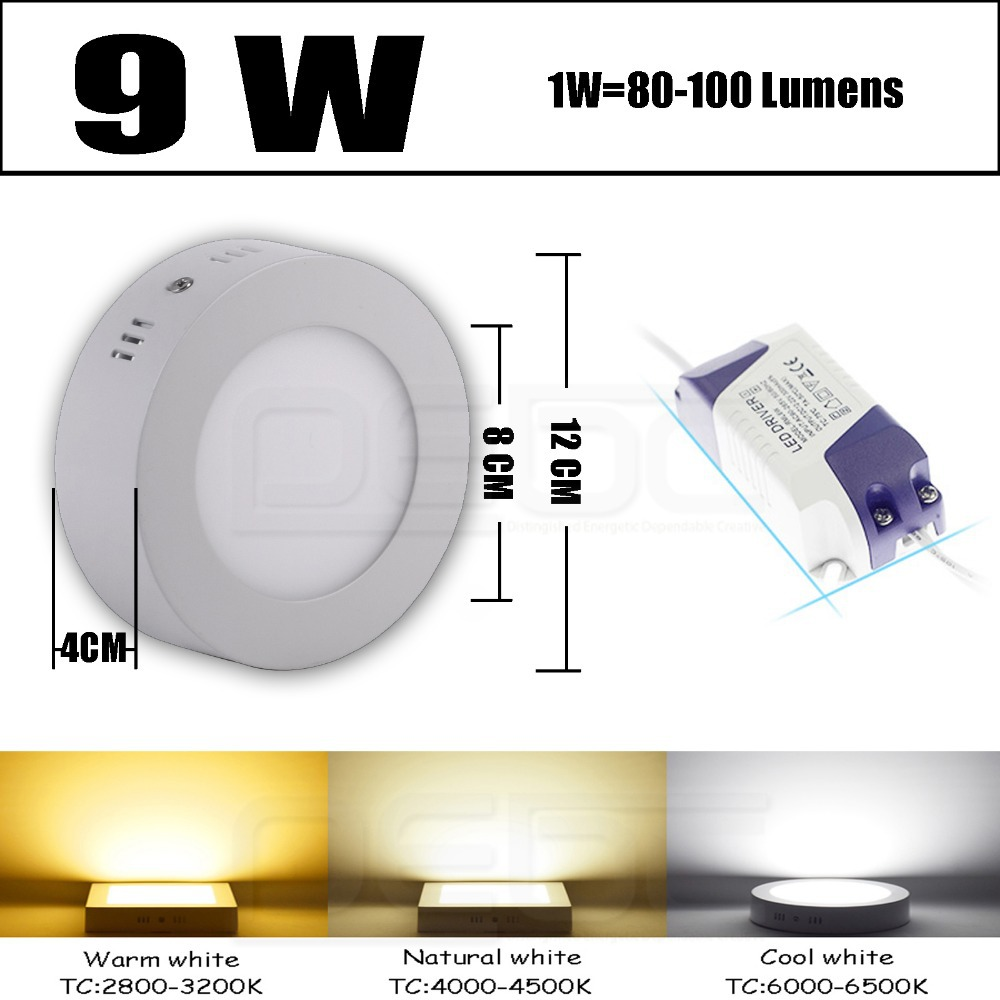 Eyourlife AC/100-245V 9W/15W/21W Dimmable LED Surface Panel Wall Ceiling Down Lights Cold white/warm white Mount Bulb Lamp(China (Mainland))