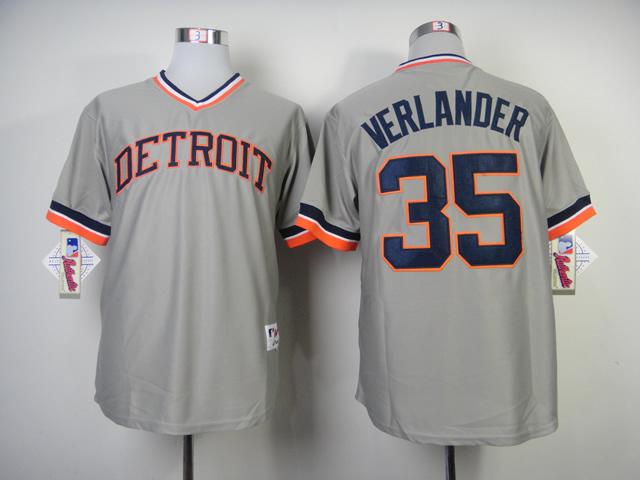 MLB Detroit Tigers Mens Jerseys #35 Justin Verlander Grey Throwback Jersey 1287