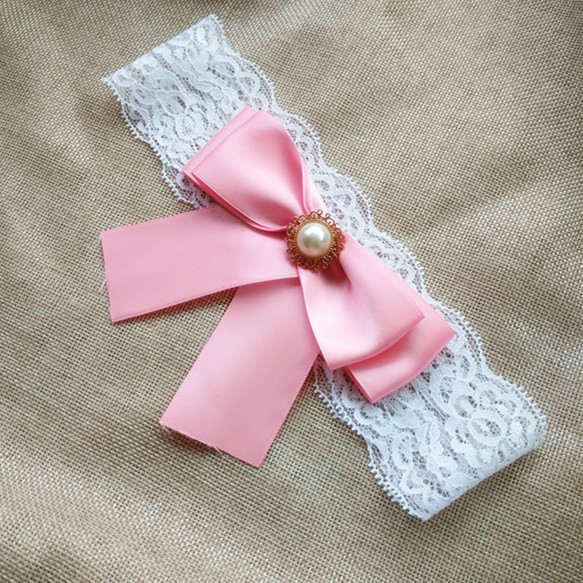 Wedding Vintage Garter Pink Ribbon Flower with Pearls Bridal Lace garter 5 2cm width Customized