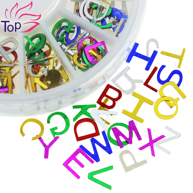Colorful a z 26 eanglish letters metal sequins wheel for Abc salon supply