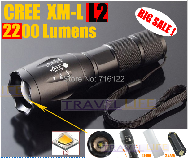 E17 CREE XM-L2 2500LM tactical cree led Torch Zoom cree LED Flashlight Torch light For 3xAAA or 1x 18650 rechargeable(China (Mainland))