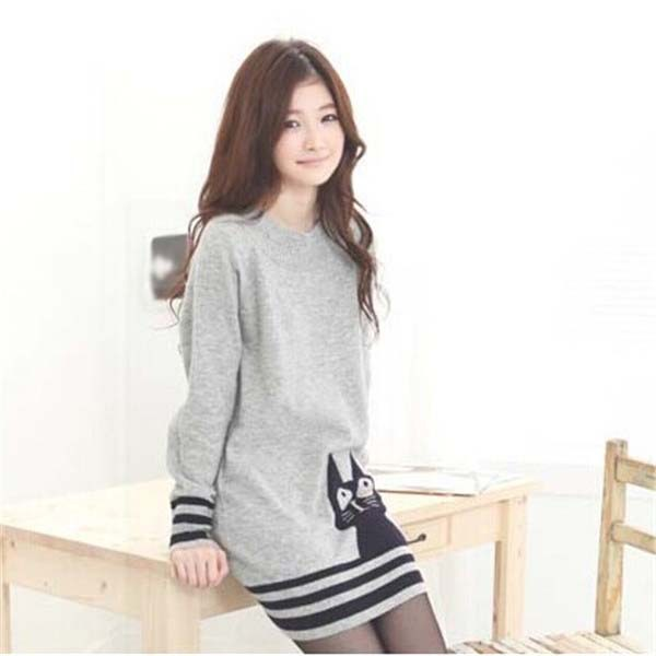 Womens Striped Long Sleeve Casual O-Neck Cute Cat Knit Sweater Knitwear Pullover Tops Free Shipping(China (Mainland))