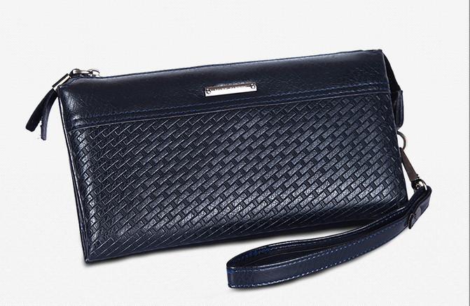 Fashion Day Genuine Cow Leather Clutch Wallet Bag Men Wristlet Purses Men Interior Zipper Pocket CM004-1F