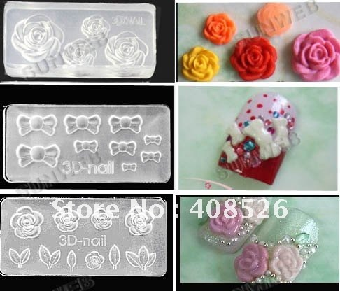 Fashion 6 style acrylic flowers 3d nail art mold diy for 3d nail art decoration
