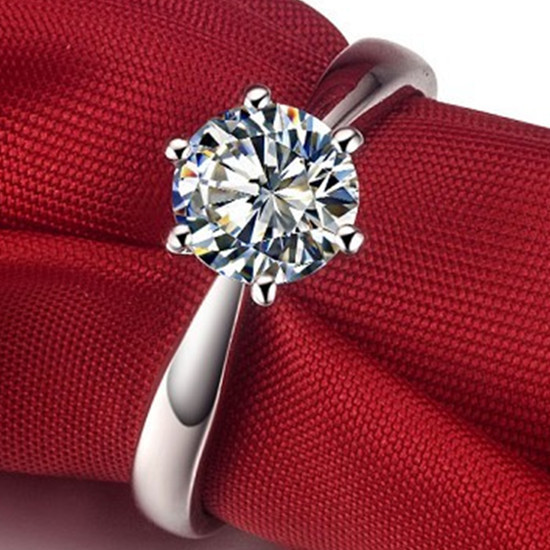 Solid 18K Gold Ring 0.6CT Solitaire Synthetic Diamond Sold Gold Ring Surprise Xms Jewelry Gift For Propose(China (Mainland))