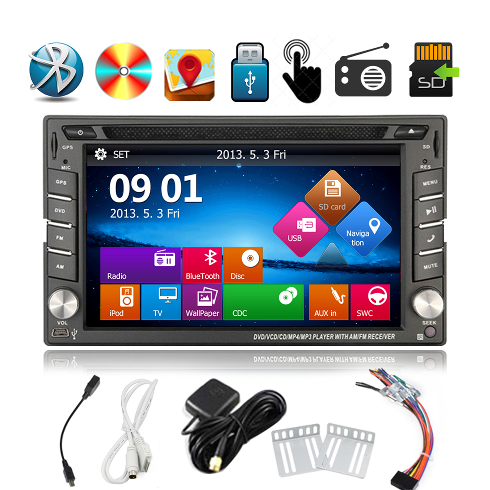 """Double 2 din in-dash Car video Stereo player built-in GPS Navigation HD 6.2"""" Touch Screen Car DVD Player Radio car gps track(China (Mainland))"""