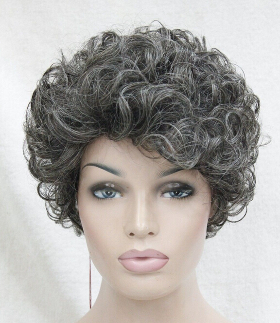 0000120 fashion high quality medium gray short curly heat freindy hair women's wig