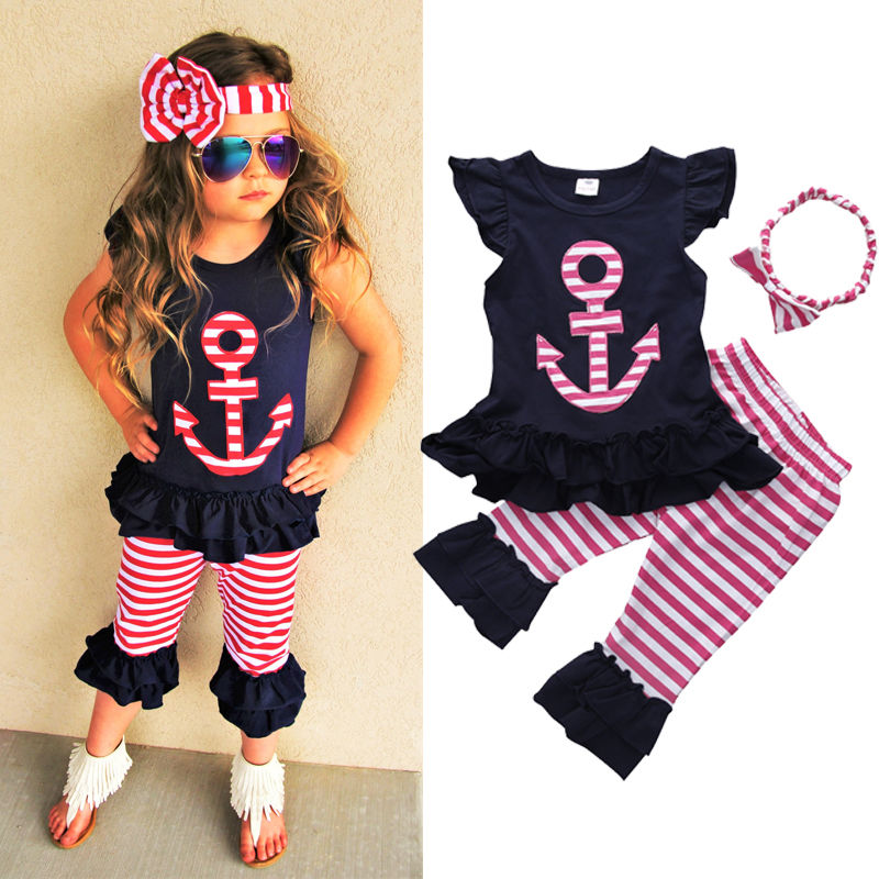 2CPS Floral Summer Baby Girls Clothes Sets Anchor T-shirt Tops Ruffles + Striped Pants Outfits Set Fashion Girl Clothing 2016(China (Mainland))