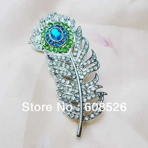 Гаджет  free shipping 1 piece Emerald & clear Crystal Peacock Feather rhinestone alloy Brooch for women, min order: 15usd(mix items) None Ювелирные изделия и часы