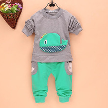 2Pcs Outfits Kids Baby Boys Clothes Long Sleeve Whale Tops Long Pants Clothing Sets 1 4Y