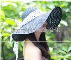 Free shipping 2013 summer Women's sunbonnet bow large brim beach hat summer straw braid hat