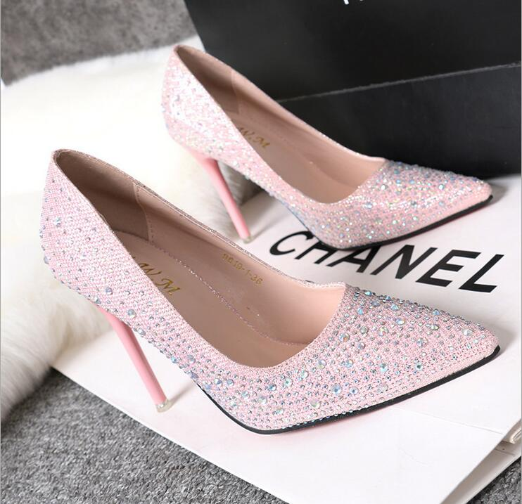 2016 New Korean Fashion Sweet And Delicate Elegant Fine With Shallow Mouth Thin High-Heeled Pointed Shoes Diamond Rhinestone<br><br>Aliexpress
