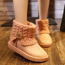 Patchwork de Lana de Tejer de Las Mujeres Botas de Nieve de Invierno Zapatos 2016 Talones Planos Calientes de la Felpa Tobillo Boots Resbalón Para Mujer Botines 11D06(China (Mainland))