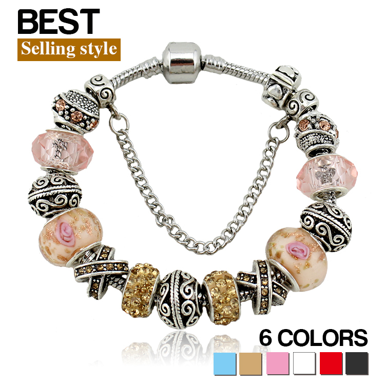 2015 3 Colors Charms Beads fit pandora bracelet making Silver Crystal Big Hole Beads Fashion Bracelets & Bangles for Women(China (Mainland))
