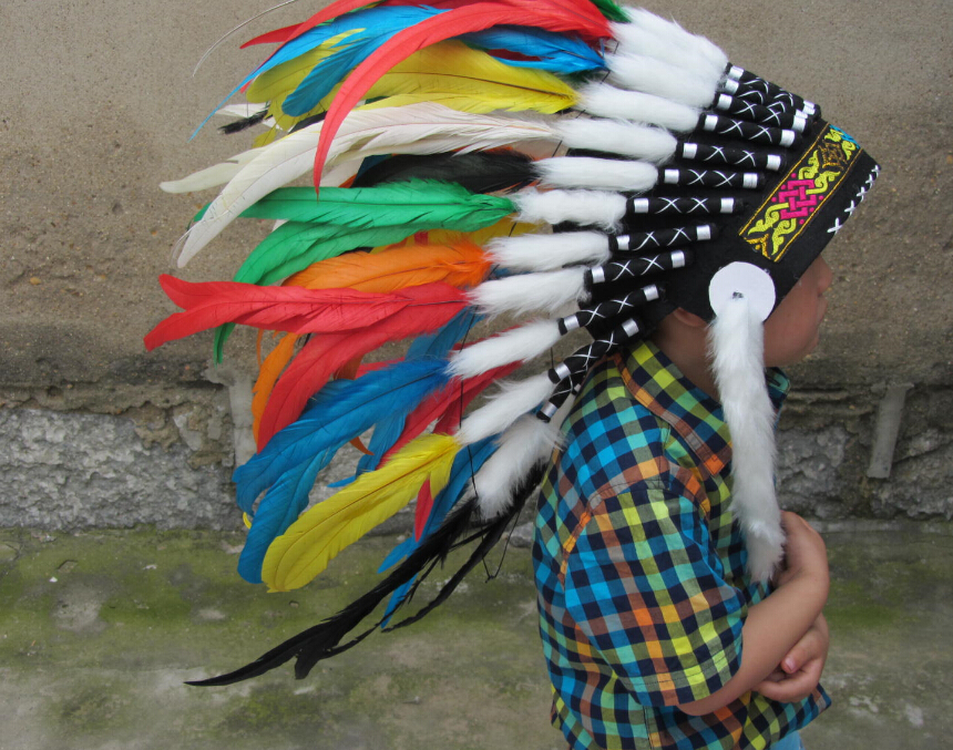 In Stock Feather Costumes Chief Headdress Indian Feather Headdress Native American Warbonnet Colorful(China (Mainland))