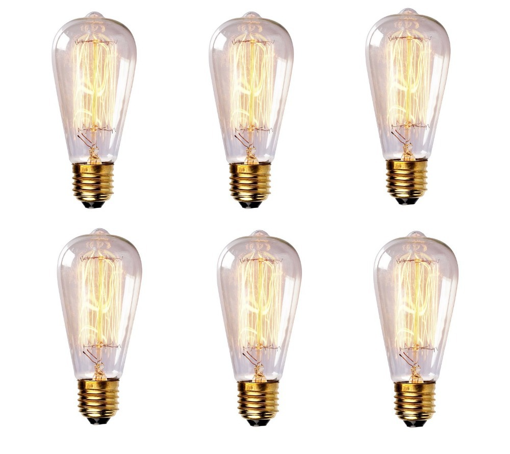 6 piece 2W 4W 6W 8W Retro LED/Incandescent Vintage Light Bulb ST64 DIY Handmade Edison Bulb Fixtures E27 LED Bulb Pendant Lamps(China (Mainland))