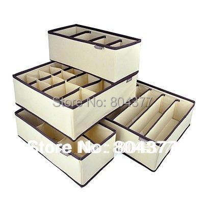 FREE SHIPPING 4 in 1 per set foldable storage box Bamboo Charcoal fibre home organizer Box for bra,underwear,necktie,socks(China (Mainland))