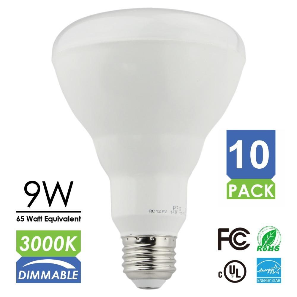 10pcs/lot Dimmable BR30 Led Flood light Bulbs 9w 750LM Equiv 65W Hologen Bulbs 3000k Warm White,UL Listed(China (Mainland))