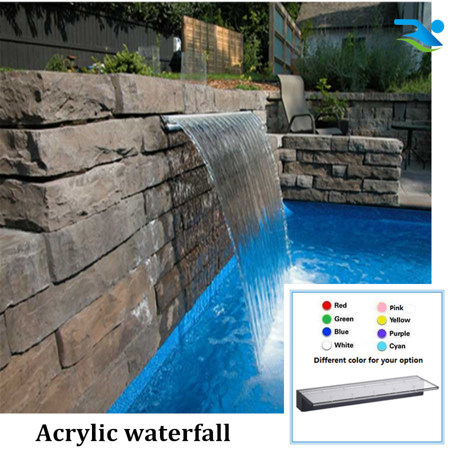 900mm 150 Long Lip Acrylic Tank For Swimming Pool Waterfall Swimming Pool Water Curtain Garden