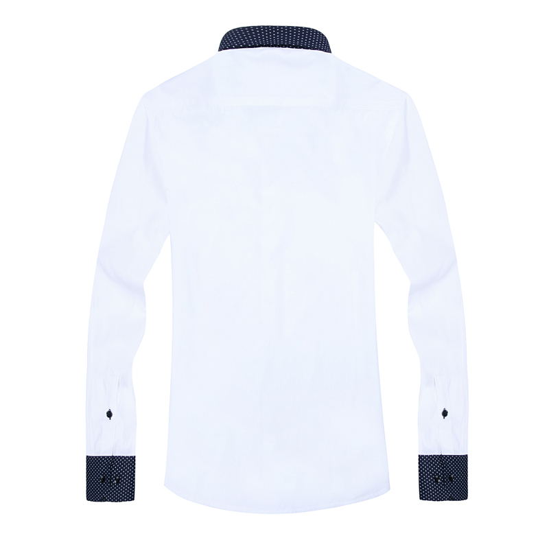 2015 Fashion Patchwork Men Dress Shirts Contrast Color 095 BM Long Sleeve Turn Down Collar Mens