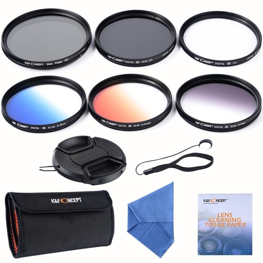 58mm slim UV CPL ND4+ Slim Blue Orange Grey Graduated colour +Macro Close Up +4 +10 +6 Point Star Lens Filter for camera lens(China (Mainland))