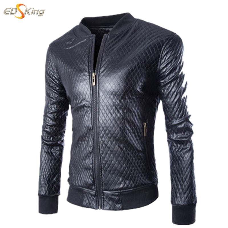 Mens Leather Jacket Individuality Fitted Leather Jacket Men Jaqueta Couro Hot Sale Famous Brand Stand Collar Fashion Casual(China (Mainland))