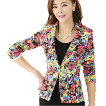 2016 New Women's Spring Autumn Coat Outdoor Jackets Suit Casual One Button Blazerof broken beautiful big yards Coat ZP184