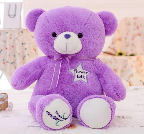 free shipping purple ppcotton kawaii stuffed teddy bear 35cm big lavender teddy bear stuffed&plush baby toy anime toys for kids(China (Mainland))